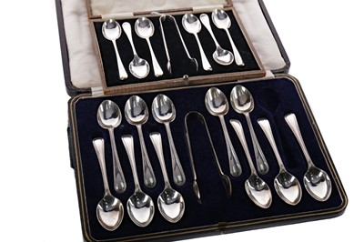 Lot 448 - A SET OF SILVER SPOONS AND TONGS AND A PART SET