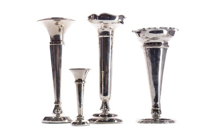 Lot 458 - A EDWARDIAN SILVER TRUMPET VASE AND THREE OTHERS