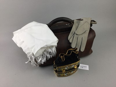 Lot 8-AN EARLY 20TH CENTURY LEATHER GLADSTONE BAG, ANOTHER BAG, GLOVES AND A SCARF