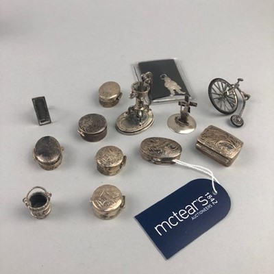 Lot 4-A SILVER MINIATURE PENNY FARTHING AND OTHER SILVER INCLUDING PILL BOXES