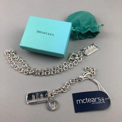 Lot 3-A WHITE METAL BRACELET AND NECKLACE ALONG WITH A TIFFANY & CO BOX