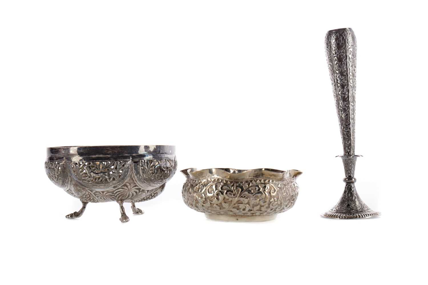 Lot 813 - AN INDIAN SILVER CIRCULAR BOWL, ANOTHER BOWL AND A VASE