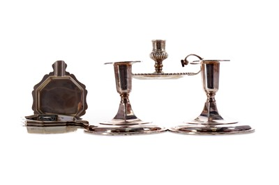 Lot 474 - A PAIR OF CANDLESTICKS AND OTHER SILVER