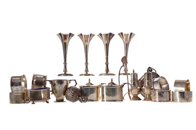 Lot 475 - A SET OF FOUR EDWARDIAN SILVER SOLIFLEUR VASES AND OTHER SILVER
