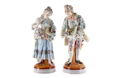 Lot 1020 - A PAIR OF LATE 19TH CENTURY GERMAN FIGURES ALONG WITH A RUSSIAN FIGURE