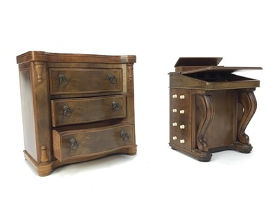 Lot 1376 - A 20TH CENTURY APPRENTICE PIECE DAVENPORT DESK AND A CHEST OF DRAWERS