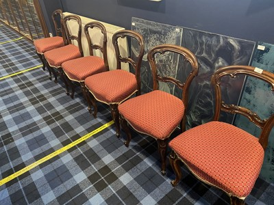 Lot 1378 - A SET OF SIX LATE VICTORIAN ROSEWOOD CHAIRS