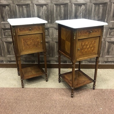 Lot 1366 - A PAIR OF FRENCH MARBLE TOPPED POT CUPBOARDS
