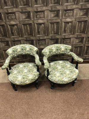 Lot 1381 - A PAIR OF LATE 19TH CENTURY UPHOLSTERED TUB CHAIRS