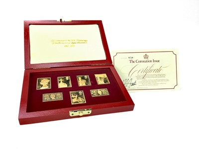 Lot 1386 - THE CORONATION ISSUE OF SILVER GILT REPLICA STAMPS