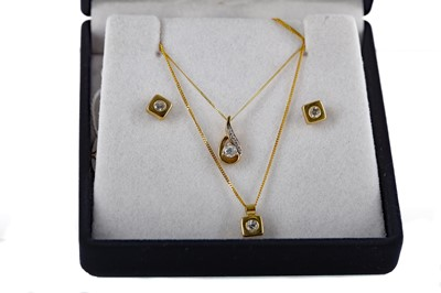 Lot 306 - TWO GOLD PENDANTS AND A PAIR OF GOLD EARRINGS