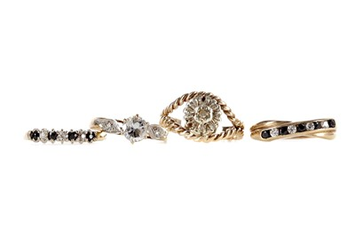 Lot 322 - THREE GEM SET AND ONE DIAMOND SET RING