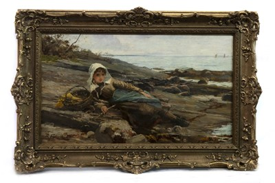 Lot 73 - THE LITTLE FISHERGIRL, AN OIL BY JAMES FULTON