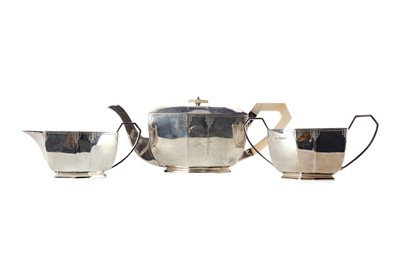 Lot 401 - A SILVER THREE PIECE TEA SERVICE