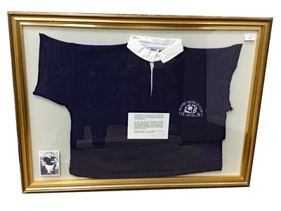 Lot 1762 - AN ICONIC SCOTTISH RUGBY UNION RUGBY WORLD CUP JERSEY WORN BY DAVID SOLE