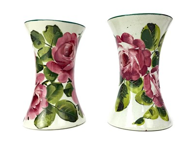 Lot 1022 - A LOT OF TWO WEMYSS WARE 'CABBAGE ROSE' PATTERN VASES