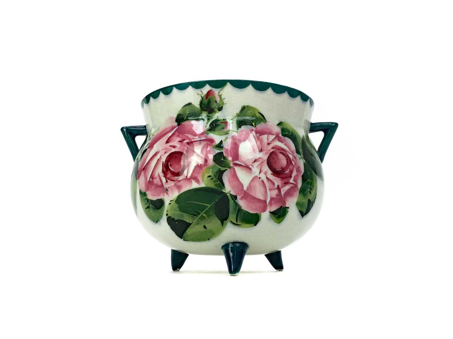 Lot 1024 - A WEMYSS WARE 'CABBAGE ROSE' PATTERN CAULDRON JARDINIERE