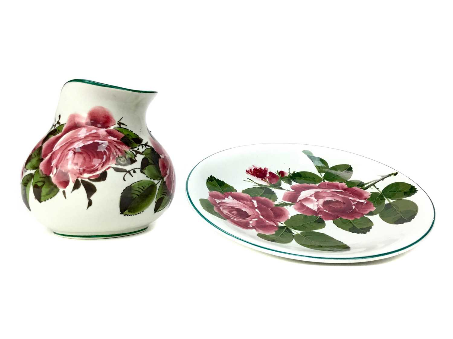 Lot 1026 - A WEMYSS WARE 'CABBAGE ROSE' PATTERN EWER AND PLATE