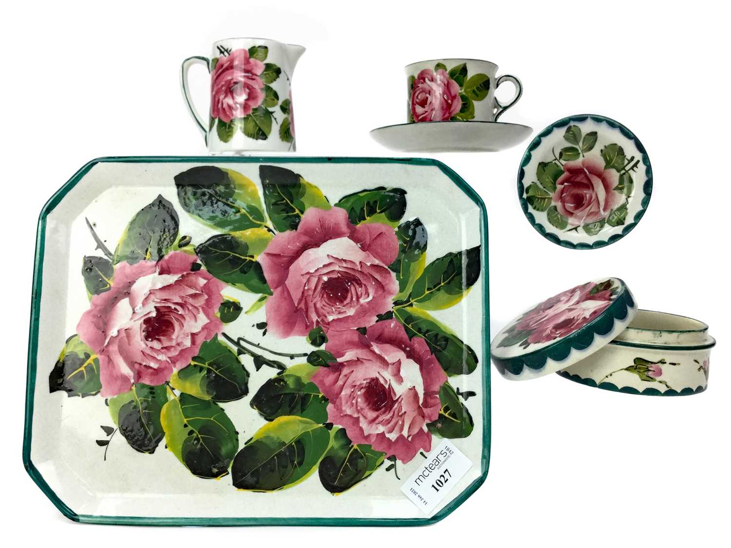 Lot 1027 - A LOT OF WEMYSS WARE 'CABBAGE ROSE' PATTERN CERAMICS