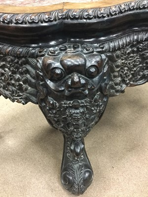 Lot 734 - AN UNUSUAL EARLY 20TH CENTURY CHINESE IRONWOOD CONSOLE TABLE