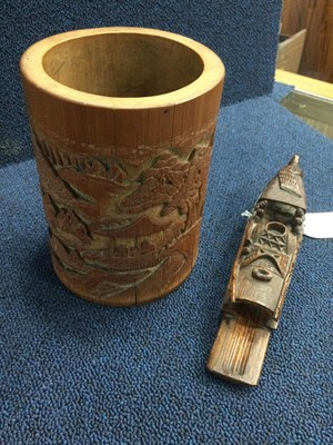 Lot 711 - A 20TH CENTURY CHINESE BAMBOO BRUSH POT AND A BRUSH HOLDER