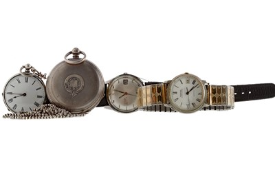Lot 936 - A SILVER FULL HUNTER KEY WIND POCKET WATCH, A SILVER FOB WATCH AND TWO GENTLEMAN'S WRIST WATCHES