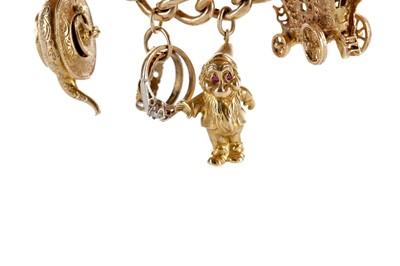 Lot 342 - A GOLD CHARM BRACELET