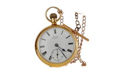 Lot 929 - AN EIGHTEEN CARAT GOLD OPEN FACE KEYLESS WIND POCKET WATCH AND ALBERT CHAIN