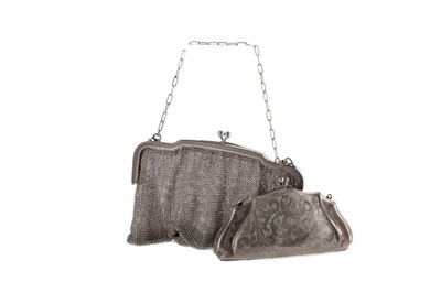 Lot 489 - A SILVER MESH PURSE AND ANOTHER