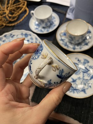 Lot 1032 - A SET OF THREE MEISSEN CUPS AND SAUCERS ALONG WITH ANOTHER, A DISH AND A CRUET