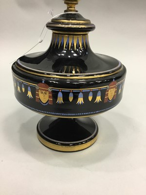 Lot 1036 - A CONTINENTAL EGYPTIAN REVIVAL GLASS URN AND COVER