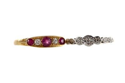 Lot 336 - PINK GEM SET AND DIAMOND RING ALONG WITH A DIAMOND THREE STONE RING