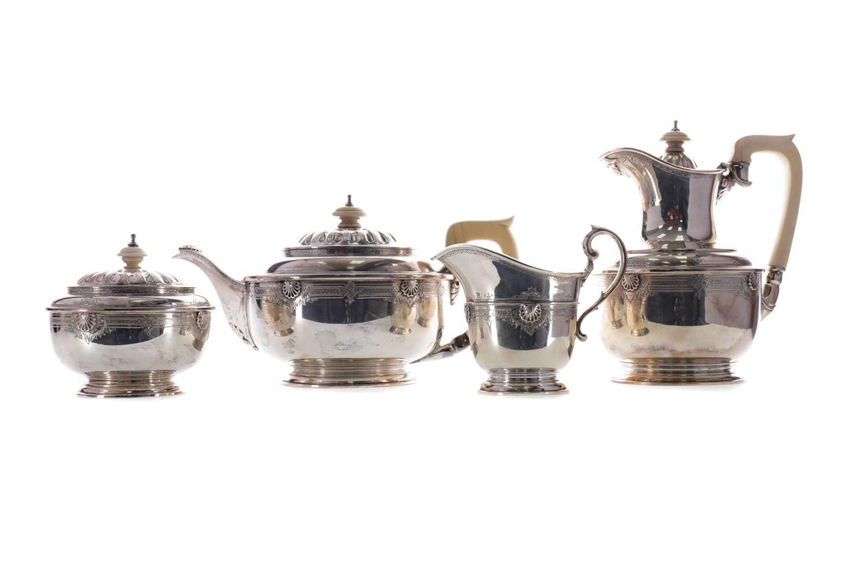 Lot 494 - A GEORGE V SILVER FOUR PIECE TEA SERVICE