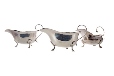 Lot 496 - A PAIR OF SILVER SAUCE BOATS AND ANOTHER