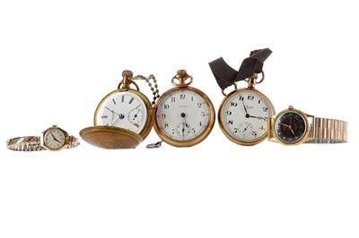 Lot 933 - THREE GOLD PLATED POCKET WATCHES, AND TWO WRIST WATCHES