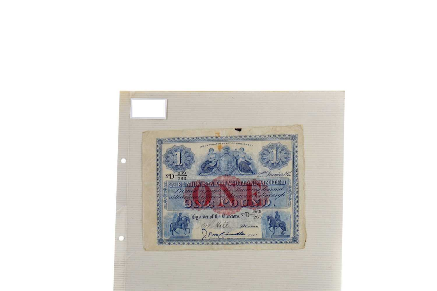 Lot 18 - THE UNION BANK OF SCOTLAND ONE POUND NOTE DATED 1914