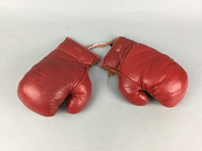 Lot 13-A PAIR OF BOXING GLOVES SIGNED BY ALAN MINTER
