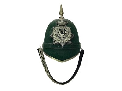 Lot 1390 - A GREEN CLOTH HELMET OF THE 4TH LANARKSHIRE RIFLE VOLUNTEERS