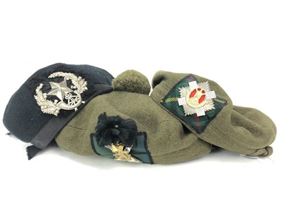 Lot 1646 - A GROUP OF SIX REGIMENTAL HATS