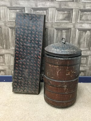 Lot 1394 - A JAPANNED TIN BEARSKIN CASE AND ANOTHER