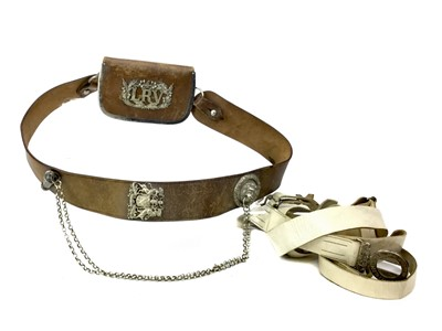 Lot 1397 - A 1ST LANARKSHIRE RIFLE VOLUNTEERS BROWN LEATHER CROSS BELT ALONG WITH A SILVER BEAUFORT WHISTLE