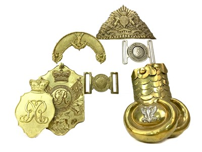 Lot 1399 - A GROUP OF MILITARY BRASS METALWARE
