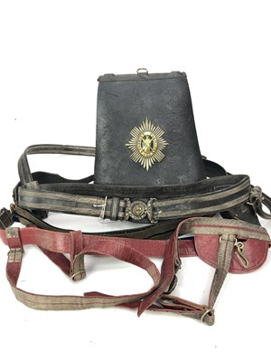 Lot 1400 - AN EARLY 19TH CENTURY AYRSHIRE YEOMANRY OFFICER'S LEATHER SABRETACHE ALONG WITH TWO WAIST BELTS