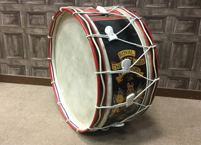 Lot 1403 - A 4/5TH BN. THE ROYAL SCOTS FUSILIERS BASS DRUM