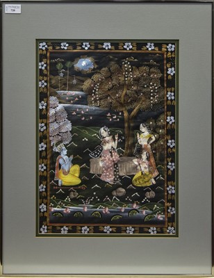 Lot 720 - A 20TH CENTURY INDIAN PAINTING ON FABRIC