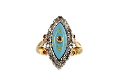 Lot 362 - A BLUE HARDSTONE AND DIAMOND RING