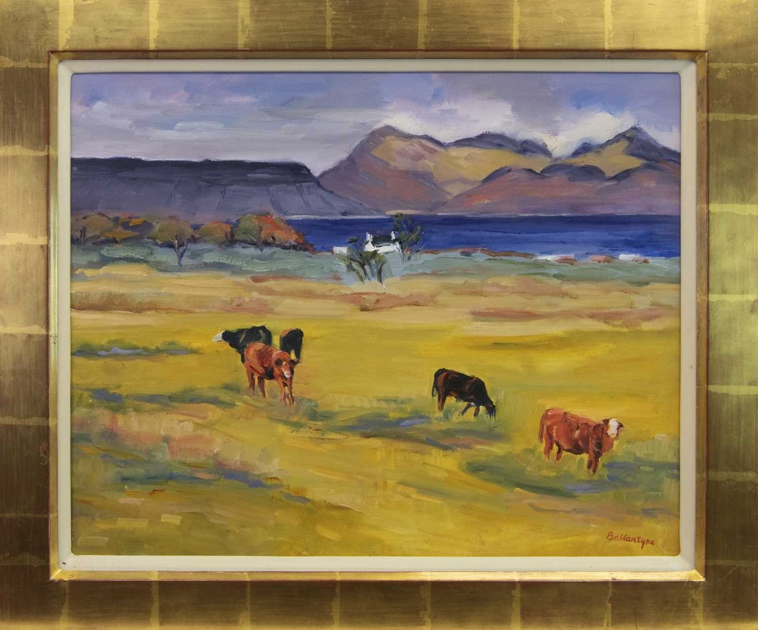 Lot 123 - INQUISITIVE COWS, ARISAIG, AN OIL BY MARGARET BALLANTYNE