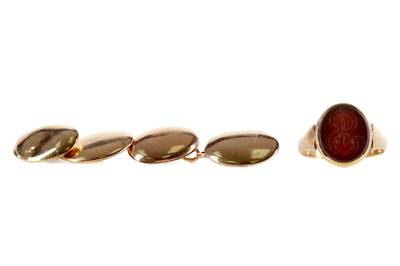 Lot 333 - A PAIR OF OVAL CUFFLINKS, SIGNET RING AND A BANGLE