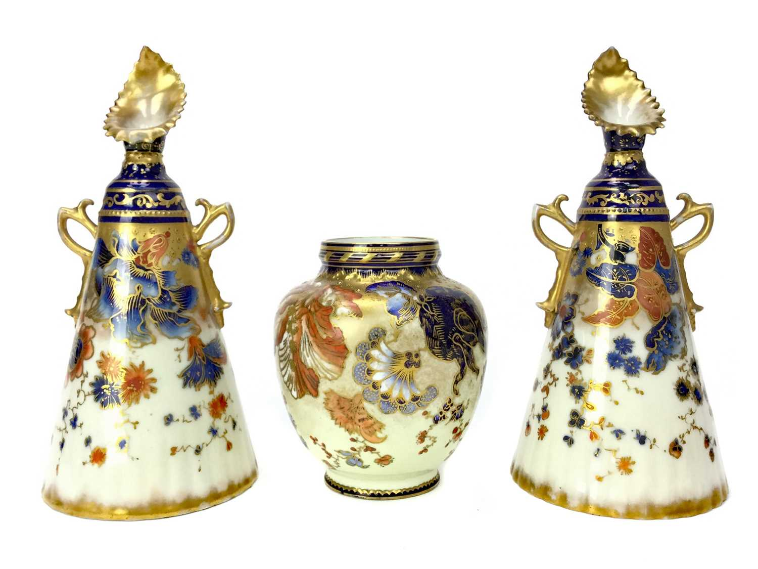 Lot 1044 - A PAIR OF NAUTILUS PORCELAIN CONICAL VASES ALONG WITH A CROWN DERBY VASE
