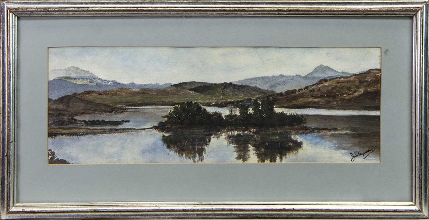 Lot 1 - LOCH DOCHART, A WATERCOLOUR BY J W FERGUSON